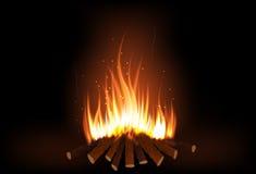 Firewood burning. Firewood burn illustration on black background Stock Photo