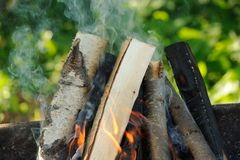 Firewood Burning in Fire Royalty Free Stock Image