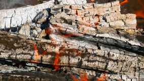 Firewood burning in metal tray stock video footage