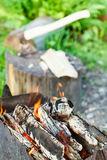 Firewood burning in rusty brazier close up Stock Photos