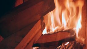 Firewood burns in the fireplace. Home heat stock video
