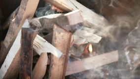 Firewood burns in the grill.  stock video footage