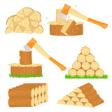 Firewood chop icons Stock Photos
