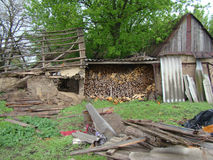 Firewood. Chopped,folded. for heating furnace in the winter Stock Photos