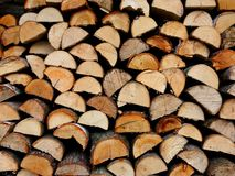 Firewood chopped fuel material nature stack Stock Photos