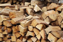 Firewood. Chopped firewood stacked into a pile Stock Photo