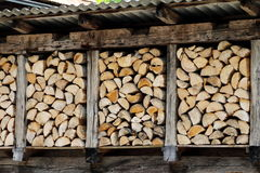 Firewood. Chopped firewood stacked up nicely in a storage Stock Photography