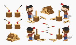 Firewood chopping by lumberjack Stock Image