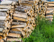 Firewood combined in three ranks for a furnace kindling Royalty Free Stock Photography