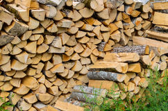 Firewood combined in two ranks for a furnace kindling Stock Photography