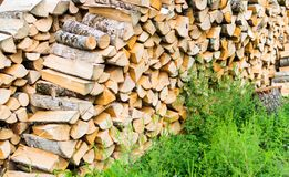 Firewood combined in two ranks for a furnace kindling Royalty Free Stock Images