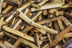 Firewood. Detail of piled firewood trunks Royalty Free Stock Photography