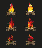 Firewood and Flame. Bonfire Vector illustration Stock Photos