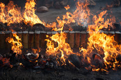 Firewood and flame. Flame of firewood close up Royalty Free Stock Photos