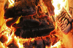 Firewood in the furnace Stock Photo