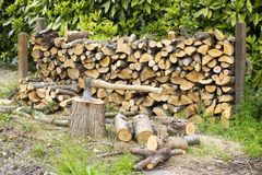 Firewood in the garden Stock Photo