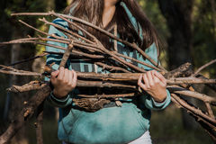 Firewood. A girl carries a firewood Stock Photography