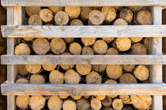 Firewood in a half-open wooden rack Stock Photo