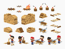 Firewood harvesting by lumberjacks Stock Images