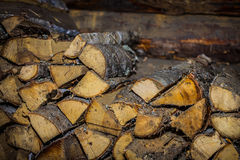 Firewood. Heap Pile Grinding Cut Wood Timber Wood Wood Brown Village Stock Image