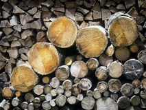 Firewood. Heap of firewood and tree trunks stock photo