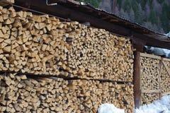 Firewood. Huge stack storage of firewood Stock Photo