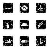 Firewood icons set, grunge style. Firewood icons set. Grunge illustration of 9 firewood vector icons for web Stock Photo