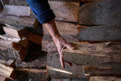 FireWood in ldery woman hand Royalty Free Stock Images