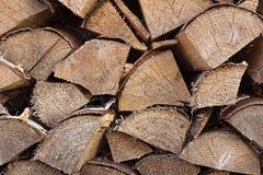 Firewood in log wood. Brown firewood in log wood background stock photography
