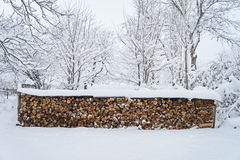 Firewood. Logs Covered with Snow. Winter Pattern Background Royalty Free Stock Images