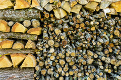 Firewood logs of different sizes stacked up in a pile Stock Photography