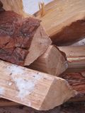 Firewood. Lying in the cold chopped firewood Stock Photos