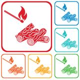 Firewood and matches icon. Vector illustration Stock Photo