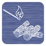 Firewood and matches icon. Vector illustration Royalty Free Stock Photos