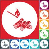 Firewood and matches icon. Vector illustration Royalty Free Stock Photo