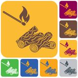 Firewood and matches icon. Vector illustration Stock Photography