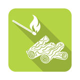 Firewood and matches icon Royalty Free Stock Image