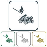 Firewood and matches icon. Vector illustration Royalty Free Stock Images