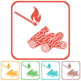 Firewood and matches icon Stock Photos
