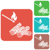 Firewood and matches icon Stock Photo