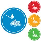 Firewood and matches icon. Vector illustration Royalty Free Stock Image