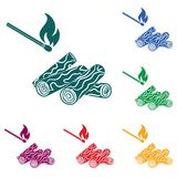 Firewood and matches icon. Vector illustration Stock Photos