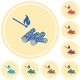 Firewood and matches icon. Vector illustration Stock Images