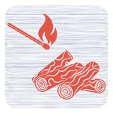 Firewood and matches icon. Vector illustration Stock Image