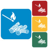 Firewood and matches icon. On a white background. Vector illustration Royalty Free Stock Images