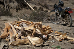 Firewood and Motorbike Stock Photos