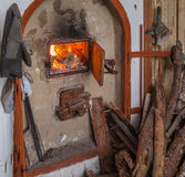 Firewood near the fireplace Royalty Free Stock Photos