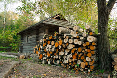 Firewood near a house in forest Stock Images