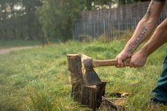 Firewood and old axe Royalty Free Stock Photo