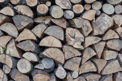 Firewood Outdoor, Brown Background. Dry Chopped Firewood logs in Royalty Free Stock Photography